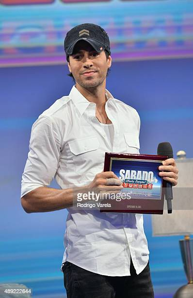 Enrique Iglesias speaks onstage at Univision's 'Sabado Gigante' Finale at Univision Studios on September 19 2015 in Miami Florida
