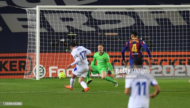 Enrique 'Kike' Garcia of SD Eibar scores their first goal of the game during the La Liga Santander match between FC Barcelona and SD Eibar at Camp...