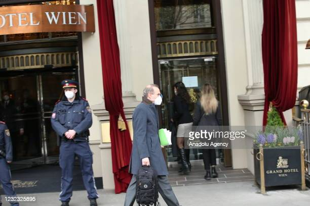 Enrique Mora, Deputy Secretary-General of EEAS leaves after attending the meeting of Joint Comprehensive Plan of Action at the 'Grand Hotel Wien' for...