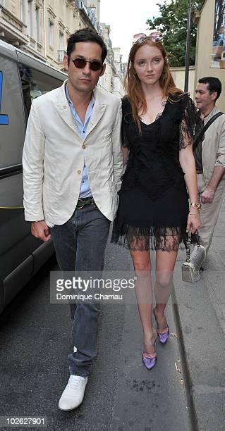 Enrique Murciano and Lily Cole attend Christian Dior Fashion show during the Paris Fashion Week Fall/Winter 2011 at Musee Rodin on July 5 2010 in...
