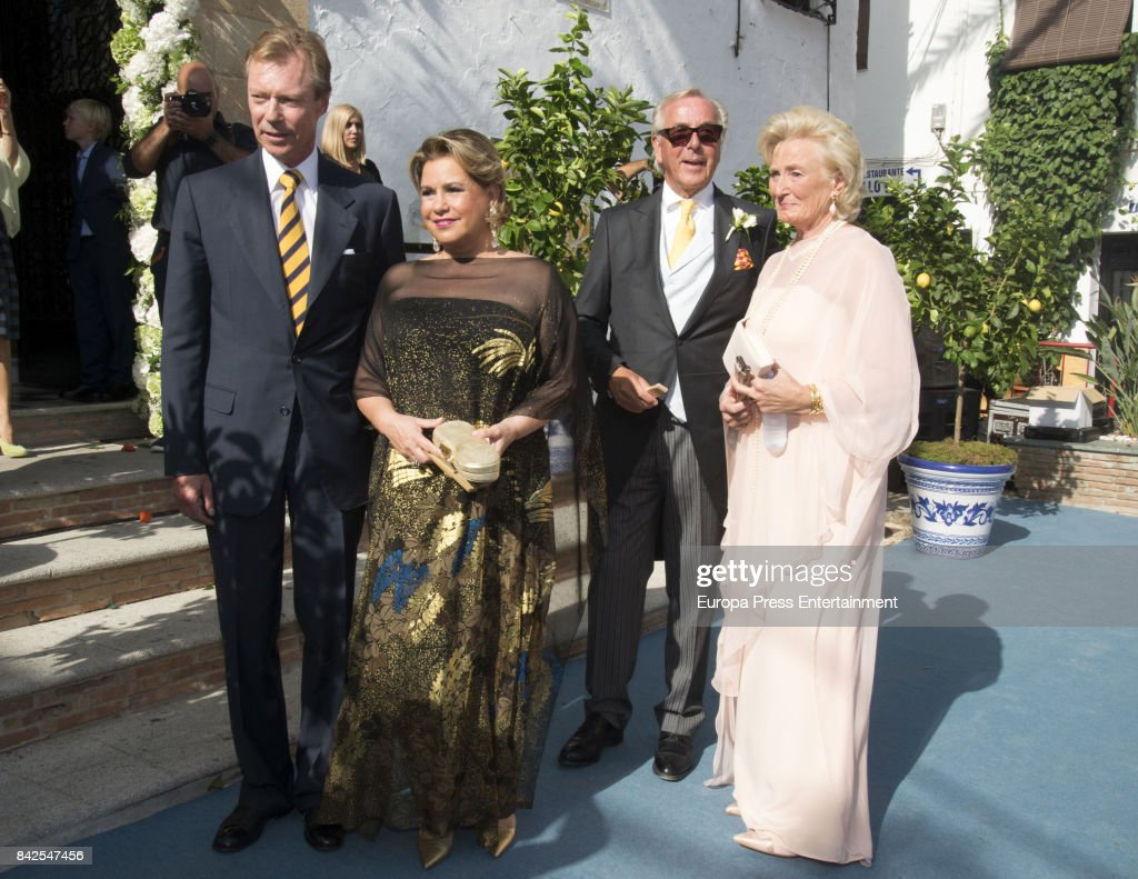 Enrique of Luxemburgo (L) and Maria Teresa of Lusemburgo (R) are seen attending the wedding of Marie-Gabrielle of Nassau and Antonius Willms on September 2, 2017 in Marbella, Spain.