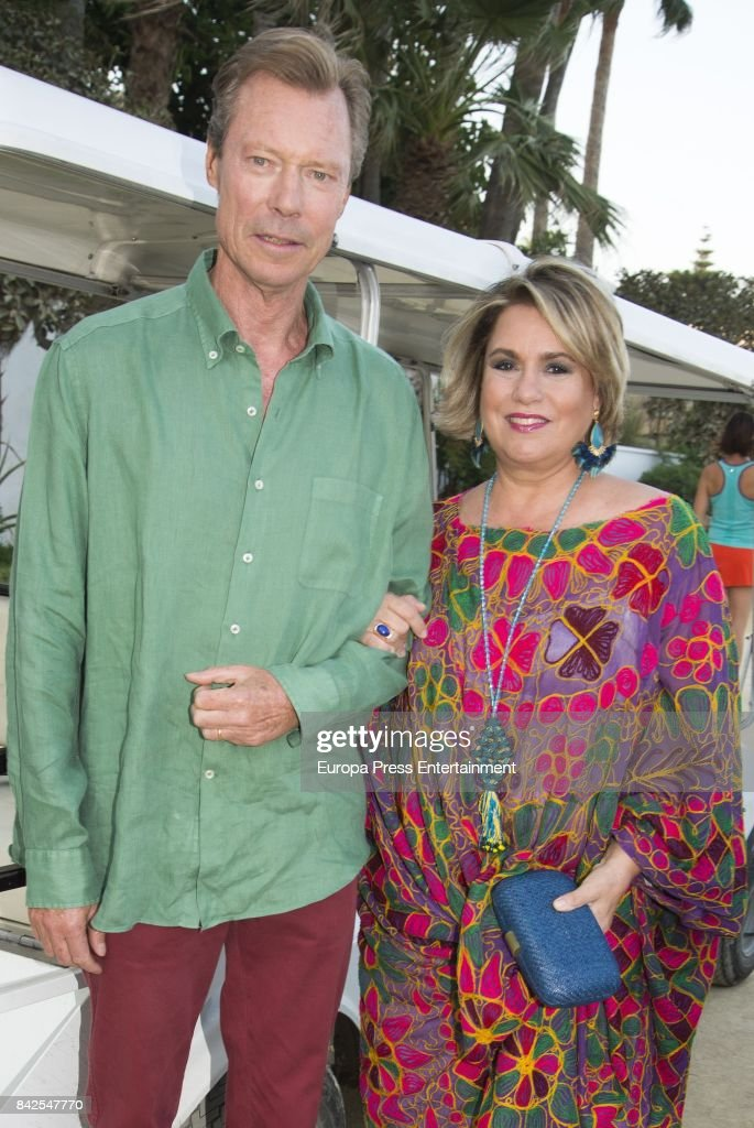 Enrique of Luxemburgo and Maria Teresa of Luxemburgo from The Grand Ducal Family of Luxembourg, are seen having dinner the day before the wedding of Marie-Gabrielle of Nassau, on September 1, 2017 in Marbella, Spain.