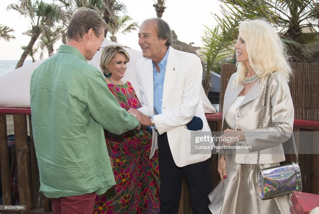 Enrique of Luxemburgo (L), Maria Teresa of Luxemburgo (R), Luis Ortiz and Gunilla Von Bismark from The Grand Ducal Family of Luxembourg, are seen having dinner the day before the wedding of Marie-Gabrielle of Nassau, on September 1, 2017 in Marbella, Spain.