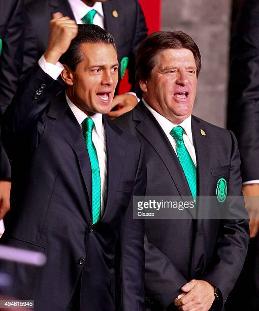 Enrique Peña Nieto President of Mexico and Miguel Herrera coach of Mexico during a Mexico National Team Farewell Ceremony at Palacio Nacional de la...