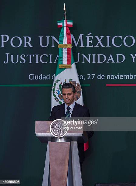 Enrique Peñ–a Nieto President of Mexico gives a speech to announce new security strategy plans at Palacio Nacional on November 27 2014 in Mexico City...