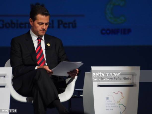 Enrique Peña Nieto President of Mexico giving a conference in the framework of the VIII Summit of the Americas The event takes place on April 13rd...