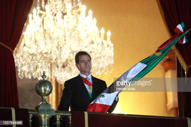 Enrique Peña Nieto President of Mexico looks on during the Mexico Independence Day Celebrations at Zocalo on September 15 2018 in Mexico City Mexico...