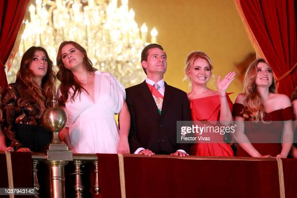 Enrique Peña Nieto President of Mexico looks on with his wife Angelica Rivera and children during the Mexico Independence Day Celebrations at Zocalo...