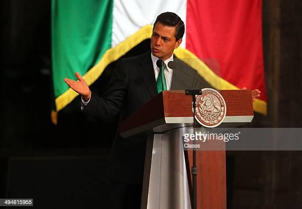 Enrique Peña Nieto President of Mexico speaks during a Mexico National Team Farewell Ceremony at Palacio Nacional de la Ciudad de México on May 27...