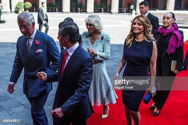 Enrique Peñ–a Nieto president of Mexico talks with Charles Prince of Wales during an official meeting at Nacional Palace on November 03 2014 in...