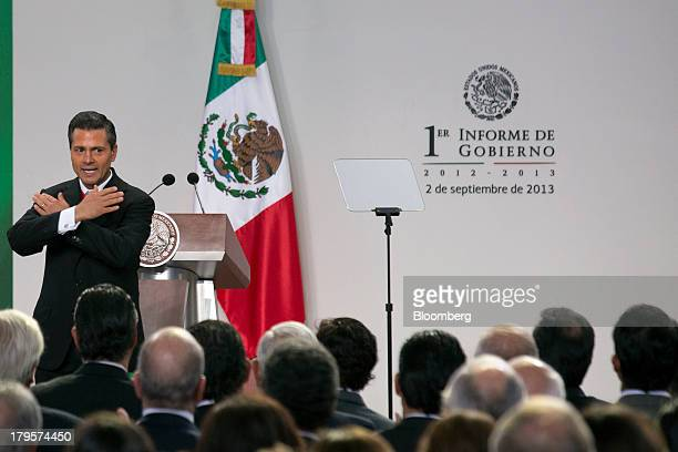 Enrique Pena Nieto Mexico's president gestures following his first state of the nation address in Mexico City Mexico on Monday Sept 2 2013 Pena Nieto...