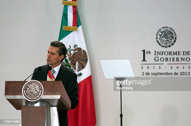 Enrique Pena Nieto Mexico's president gives his first state of the nation address in Mexico City Mexico on Monday Sept 2 2013 Pena Nieto spoke about...