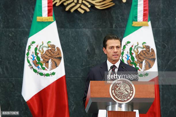Enrique Pena Nieto Mexico's president speaks during a press conference at the Los Pinos presidential residence in Mexico City Mexico on Wednesday Jan...
