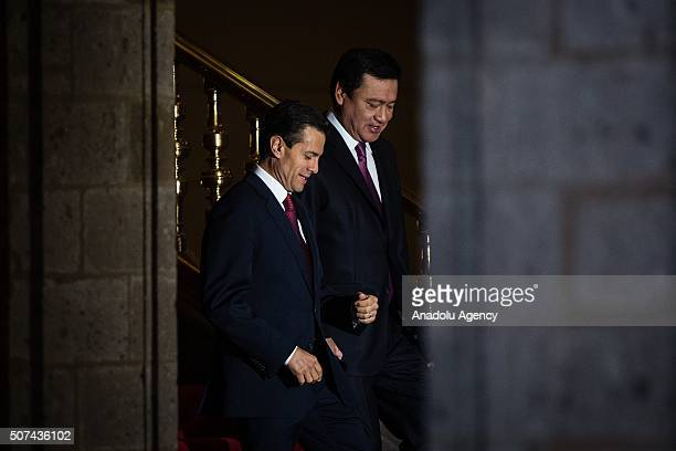 Enrique Pena Nieto President of Mexico and Miguel Angel Osorio Chong Minister of the Interior are seen before the promulgation of the Political...