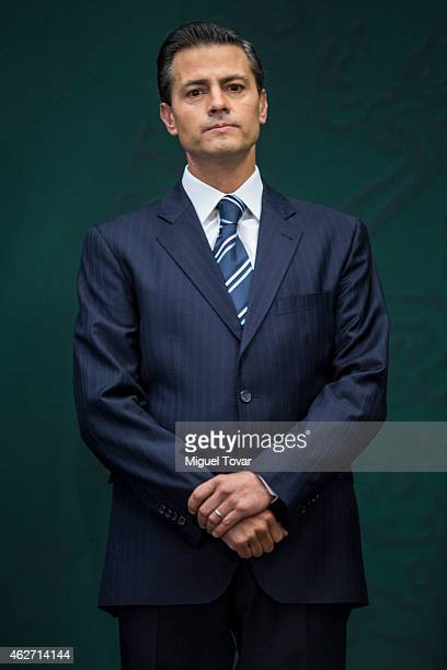 Enrique Pena Nieto President of Mexico attends during a speech to announce new anti corruption strategy plans at Los Pinos on February 03 2015 in...