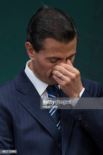 Enrique Pena Nieto President of Mexico gestures during a speech to announce new anti corruption strategy plans at Los Pinos on February 03 2015 in...