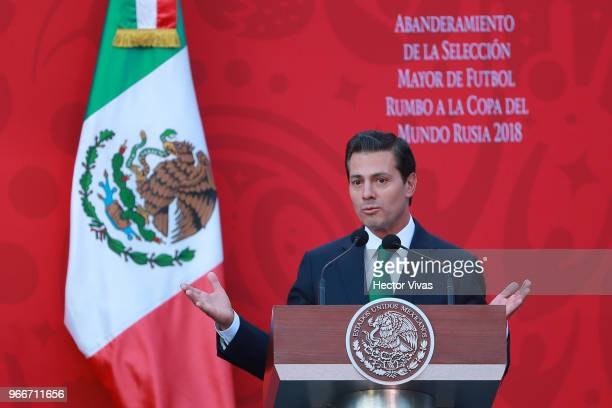 Enrique Pena Nieto President of Mexico speaks during the farewell ceremony for the Mexico National Team ahead its participation in the 2018 FIFA...