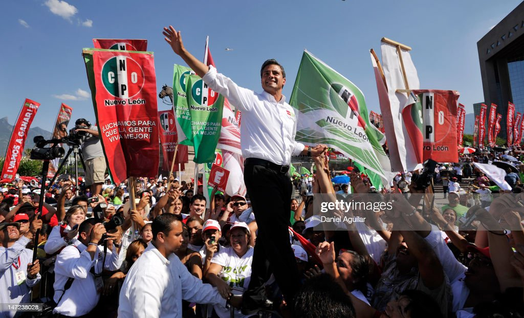 PRI Pres. Candidate Pena Nieto Campaigns In Monterrey Ahead Of Election