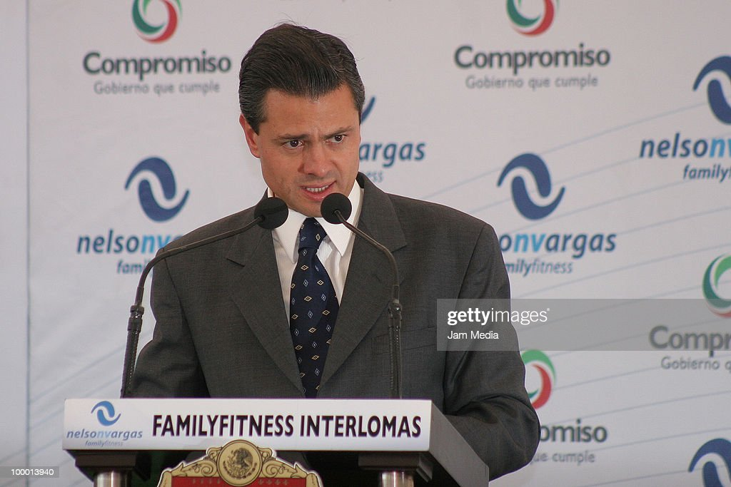 Enrique Pena Nieto speaks during the reopening of the sports center Interlomas Nelson Vargas Family Fitness, at Family Fitness Interlomas on Mayo 19, 2010 in Mexico City, Mexico.