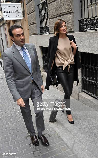 Enrique Ponce and Nieves Alvarez attend luncha at Pascua Ortega home to celebrate Giancarlo Giacommetti birthday on February 7 2015 in Madrid Spain