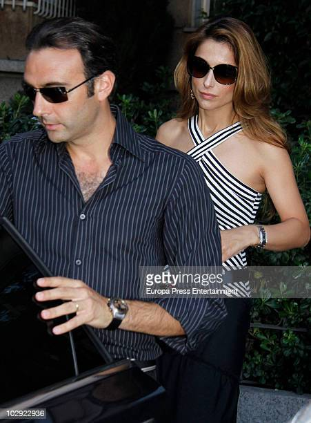 Enrique Ponce and Paloma Cuevas attend the chapel of rest for Eduardo Sanchez Junco, editor-in-chief of 'Hola' magazine on July 14, 2010 in Madrid,...