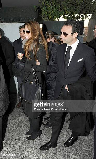 Enrique Ponce and Paloma Cuevas attend the funeral chapel for Victoriano Cuevas at M30 Morgue on December 23 2014 in Madrid Spain