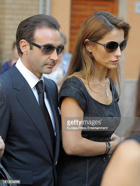 Enrique Ponce and Paloma Cuevas attend the funeral for Leandro Martinez, the grandfather of bullfighter Enrique Ponce, on September 1, 2013 in...