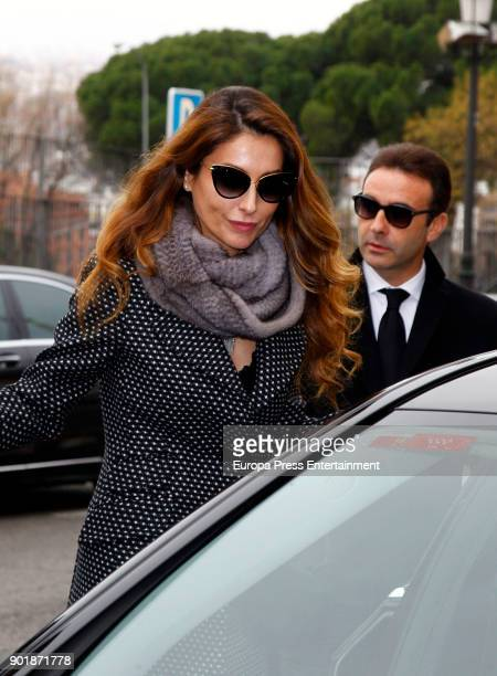 Enrique Ponce and Paloma Cuevas attend the funeral service for Carmen Franco daughter of the dictator Francisco Franco at La Almudena cathedral on...