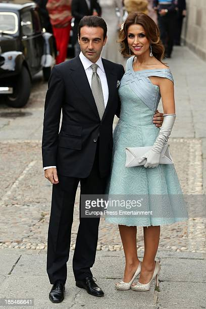 Enrique Ponce and Paloma Cuevas attend the wedding of bullfighter Miguel Angel Perera and Veronica Gutierrez at Old Cathedral on October 19, 2013 in...