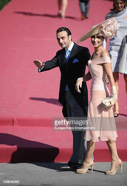 Enrique Ponce and Paloma Cuevas attend the wedding of Luis Medina and Laura Vecino on October 16 2010 in Toledo Spain