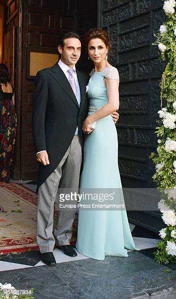 Enrique Ponce and Paloma Cuevas attend the wedding of Veronica Cuevas and Manuel Del Pino on June 21, 2014 in Cordoba, Spain.