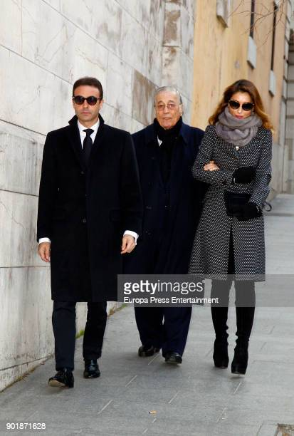 Enrique Ponce Victoriano Valencia and Paloma Cuevas attend the funeral service for Carmen Franco daughter of the dictator Francisco Franco at La...