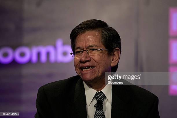 Enrique Quintana chief editor of El Financiero speaks during the Bloomberg Mexico Economic Summit at the Club de Banqueros in Mexico City Mexico on...