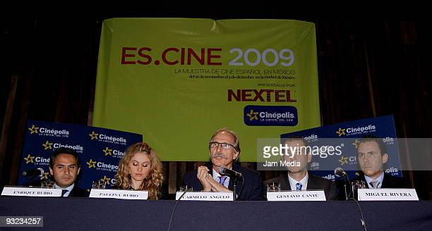 Enrique Rubio Paulina Rubio Ambassador of Spain in Mexico Carmelo Angulo Gustavo Cantu and Miguel Rivera attend a press conference to present the...
