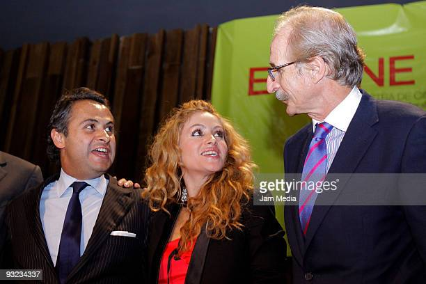Enrique Rubio Paulina Rubio and Ambassador of Spain in Mexico Carmelo Angulo attend a press conference to present the second edition of the sample of...