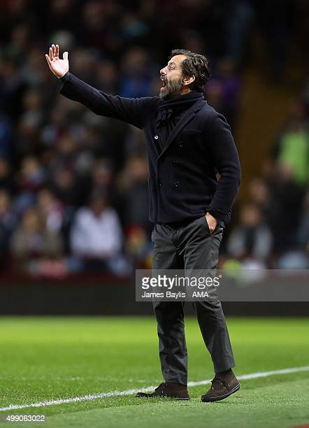 Enrique Sanchez Flores head coach of Watford during the Barclays Premier League match between Aston Villa and Watford at Villa Park on November 28...