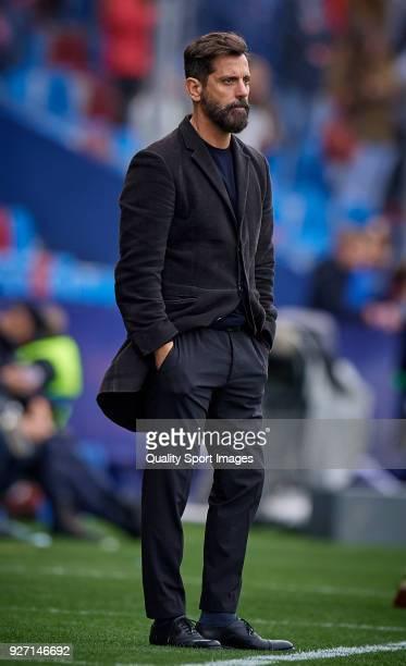 Enrique Sanchez Flores Manager of RCD Espanyol looks on during La Liga match between Levante and Espanyol at Ciutat de Valencia Stadium on March 4...