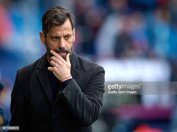 Enrique Sanchez Flores Manager of RCD Espanyol looks on prior the La Liga match between Levante and Espanyol at Ciutat de Valencia Stadium on March 4...