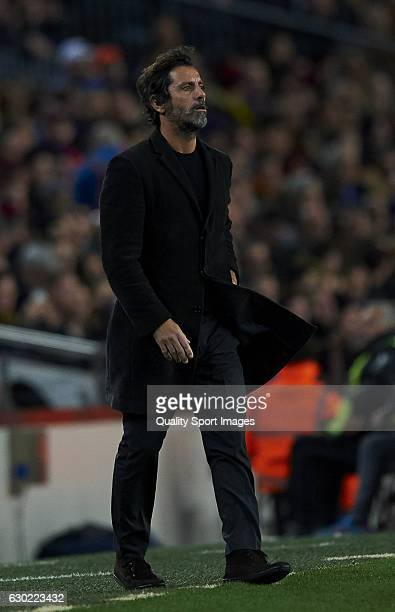 Enrique Sanchez Flores Manager of RCD Espanyol reacts during the La Liga match between FC Barcelona and RCD Espanyol at Camp Nou Stadium on December...