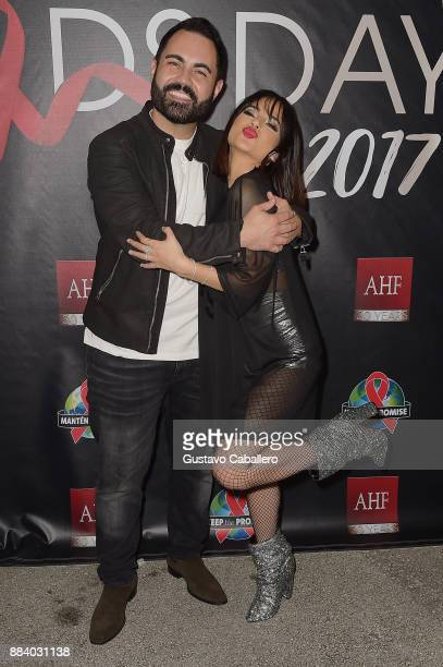 Enrique Santos and Becky G attend the AHF World AIDS Day Concert on December 1 2017 in Miami Florida