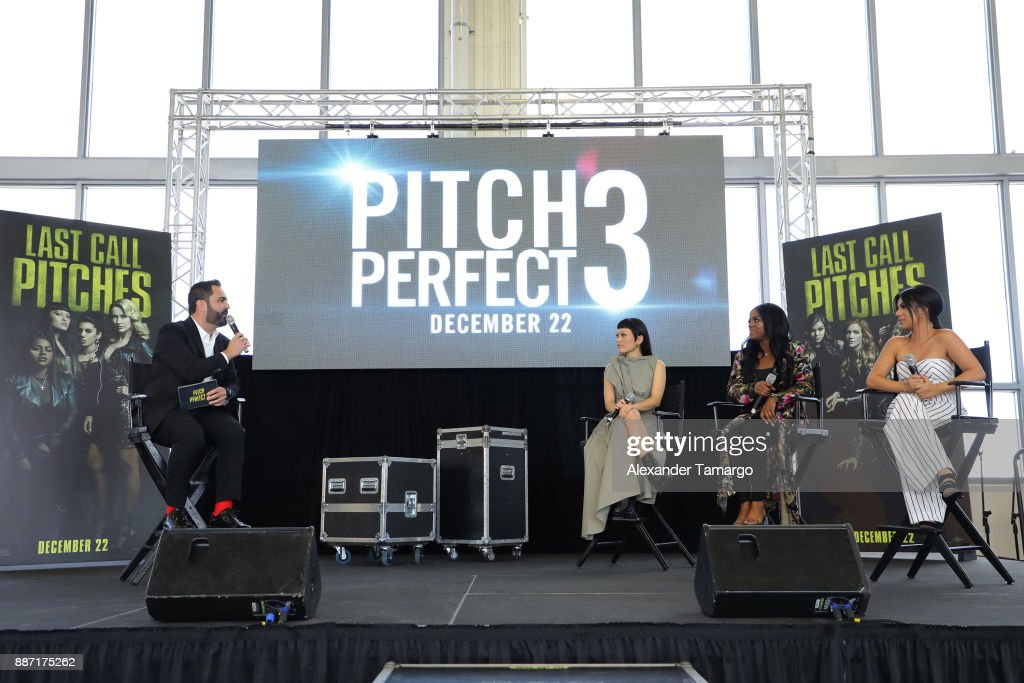 Enrique Santos, Hana Mae Lee, Ester Dean and Chrissie Fit are seen at SLAM! Academy of Miami during the Pitch Perfect 3 special event on December 6, 2017 in Miami, Florida.