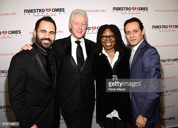 Enrique Santos President Bill Clinton Whoopi Goldberg and Marc Anthony attend Maestro Cares 'Changing Lives Building Dreams' Third Annual Gala at...