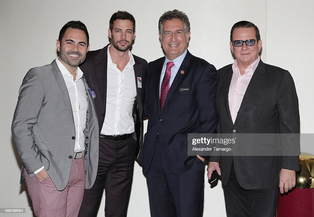 Enrique Santos, William Levy, Joe Garcia and Herman Echevarria are seen at the Latino Victory Project Rally at Florida International University on November 2, 2014 in Miami, Florida.