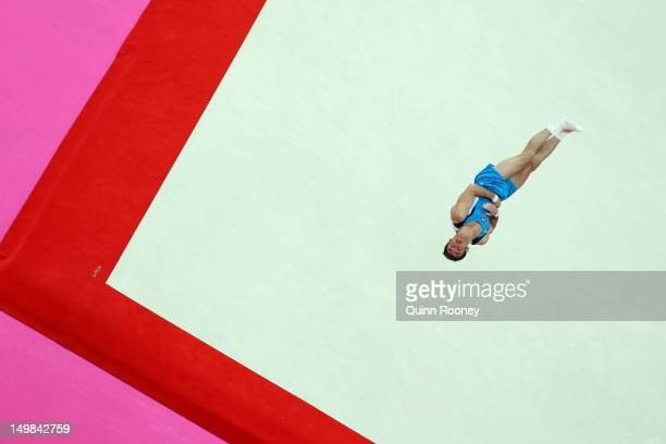 Enrique Tomas Gonzalez Sepulveda of Chile competes on the floor in the Artistic Gymnastics Men's Floor Exercise final on Day 9 of the London 2012...