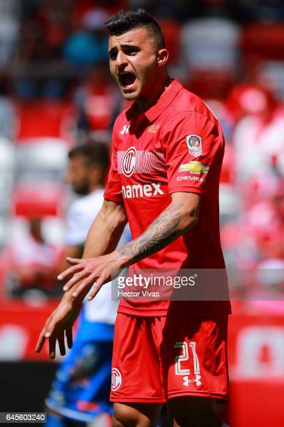 Enrique Triverio of Toluca reacts during the 8th round match between Toluca and Puebla as part of the Torneo Clausura 2017 Liga MX at Nemesio Diez...