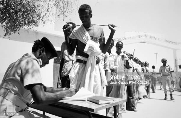 Enrôlement de soldats dans l'armée somalienne après l'appel à la mobilisation du président le 13 février 1978 à Mogadiscio Somalie