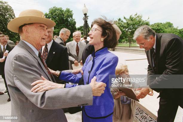 ENROLLMENTSen Strom Thurmond RSC and Tillie Fowler RFla greet each other as they arrive at the missile defense bill enrollment ceremony on the West...