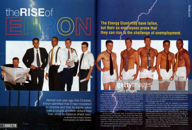 Enron employees pose in a spread in the October issue of Playgirl that hit news stands September 17 2002 The magazine features five current or former...
