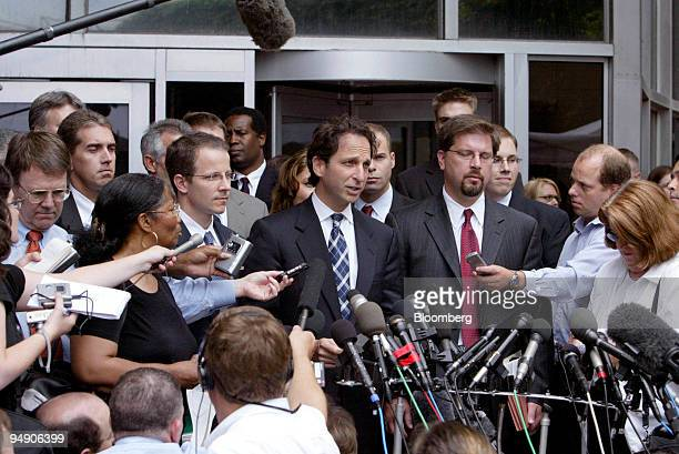 Enron Task Force Director and government prosecutor Andrew Weissmann, speaks to the media upon his exit from the Houston Federal Courthouse in Texas,...