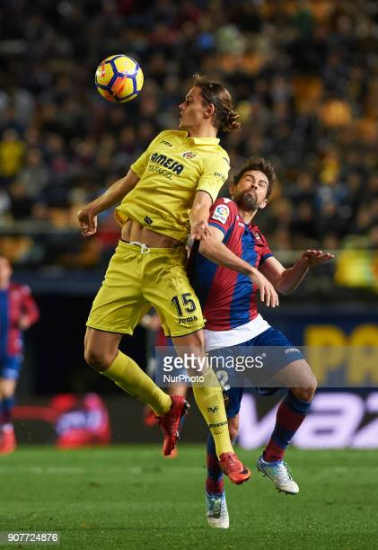 Ens Unal of Villarreal CF and Jorge Coke Andujar of Levante Union Deportiva during the La Liga match between Villarreal CF and Levante Union...